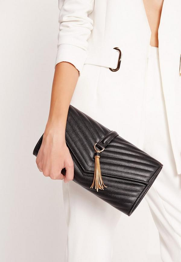 Tassel Trim Clutch Bag Black