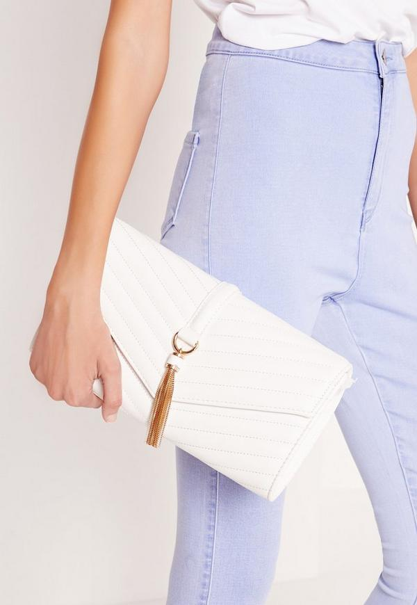 Tassel Trim Clutch Bag White