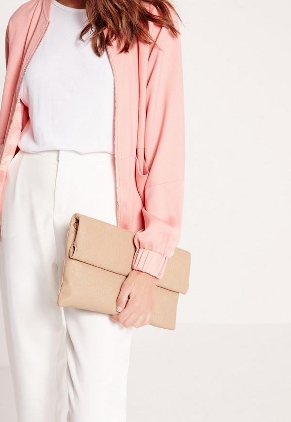 Roll Top Clutch Bag Nude