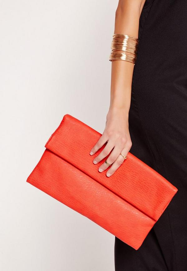 Roll Top Clutch Bag Red