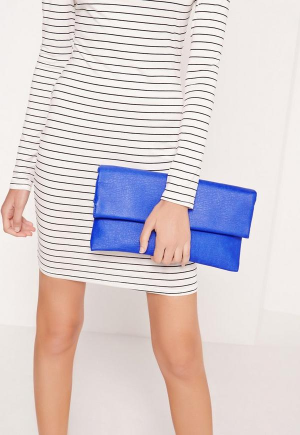 Roll Top Clutch Bag Cobalt Blue