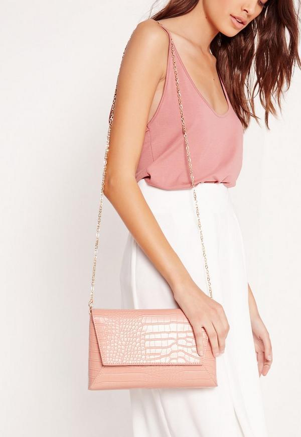 Croc Print Clutch Bag Pink