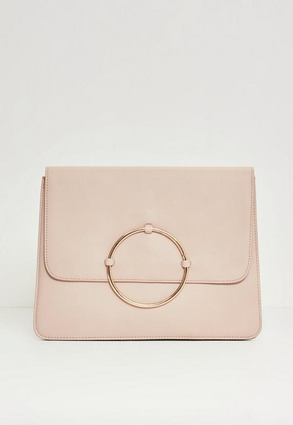 Circle Trim Oversized Clutch Bag Nude