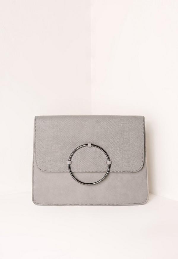 Circle Trim Oversized Clutch Bag Grey