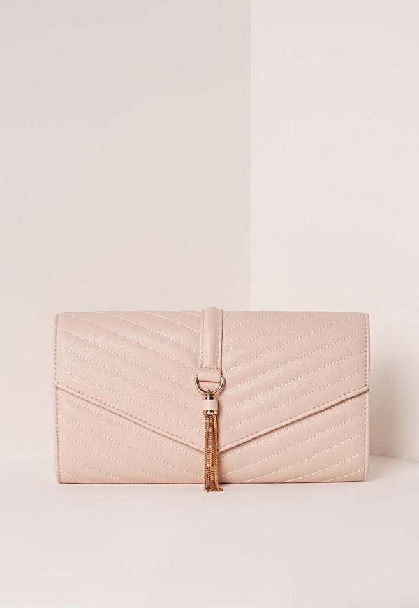 Tassel Trim Clutch Bag Pink