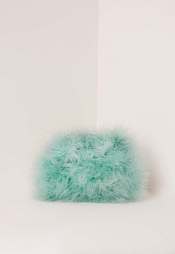 Feather Clutch Bag Mint