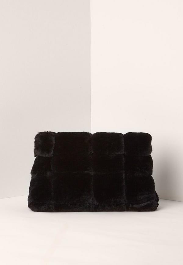 Black Faux Fur Roll Top Clutch Bag