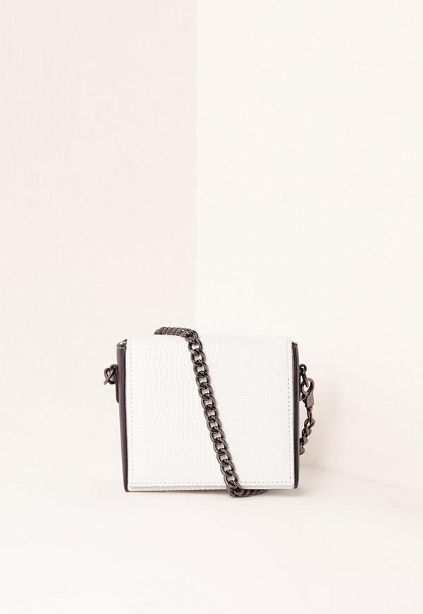 Contrast Croc Box Cross Body Bag White