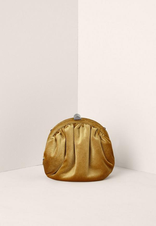 Yellow Velvet Cross Body Bag