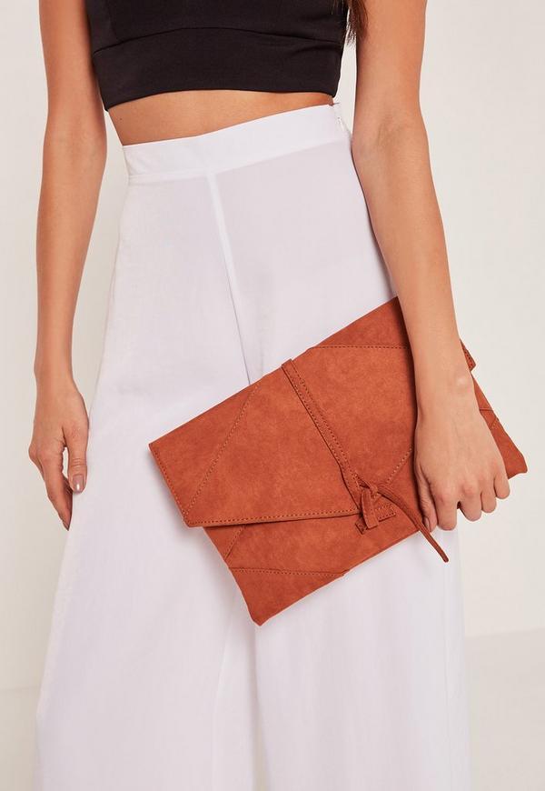 Orange Thread Through Clutch Bag