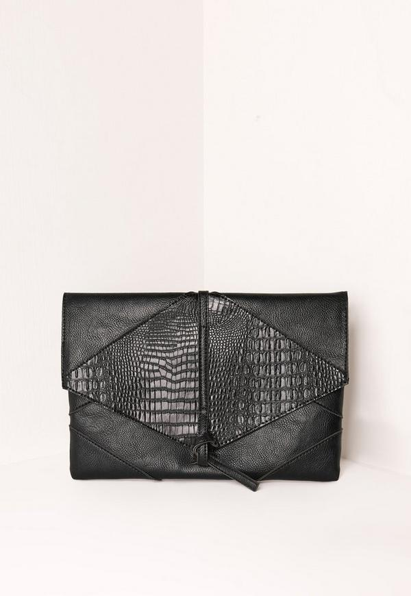 Croc Faux Leather Thread Through Clutch Bag Black