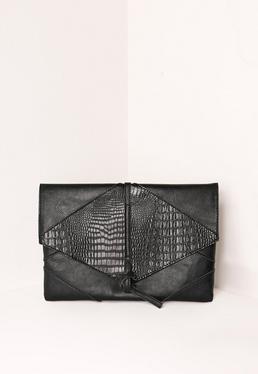Pochette noire en faux croco à lanières