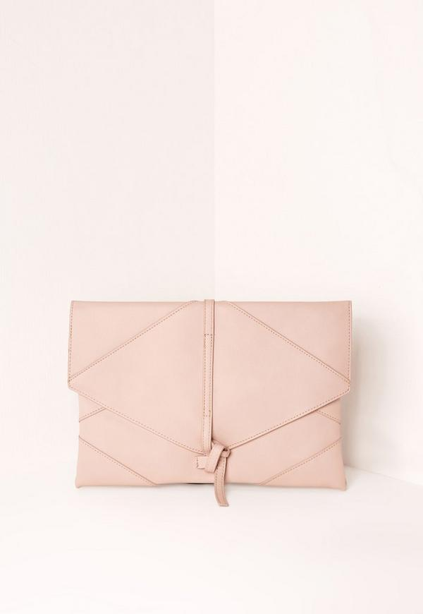 Faux Leather Thread Through Detail Clutch Bag Nude