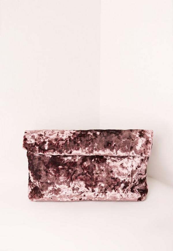 Velvet Roll Top Clutch Bag Pink