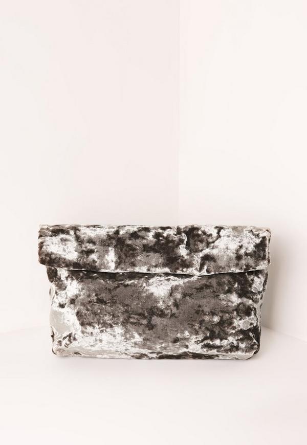 Velvet Roll Top Clutch Bag Grey