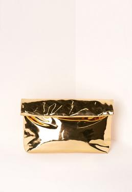 High Shine Roll Top Clutch Bag Gold