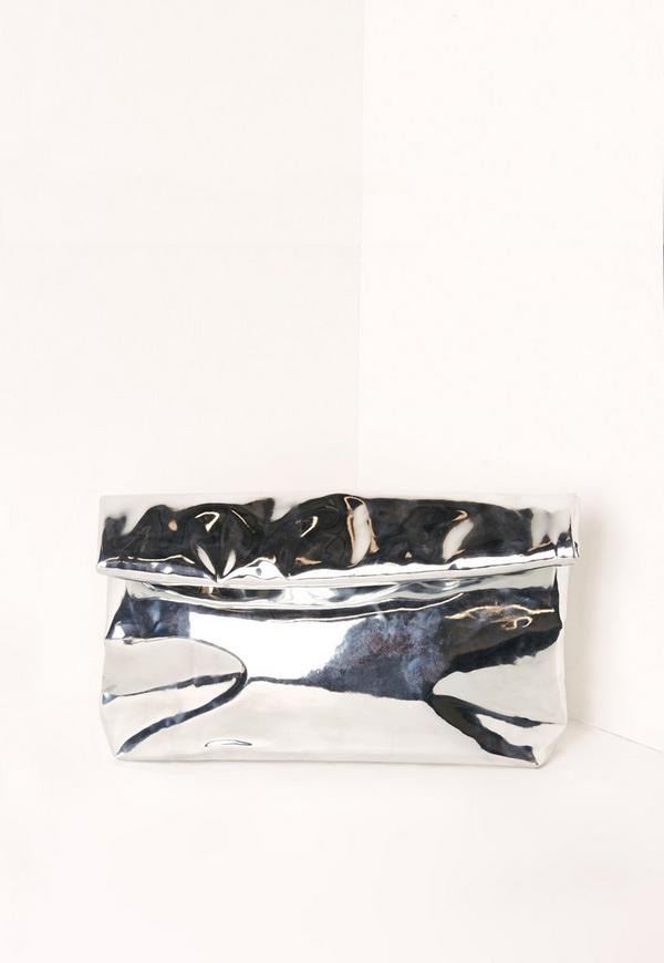 High Shine Roll Top Clutch Bag Silver