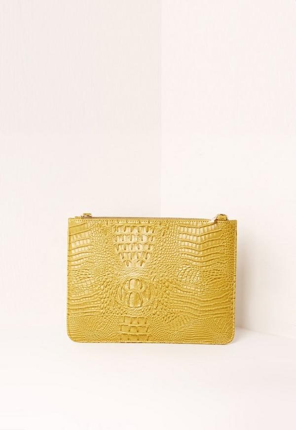 Zip Top Croc Clutch Bag Chartreuse Green