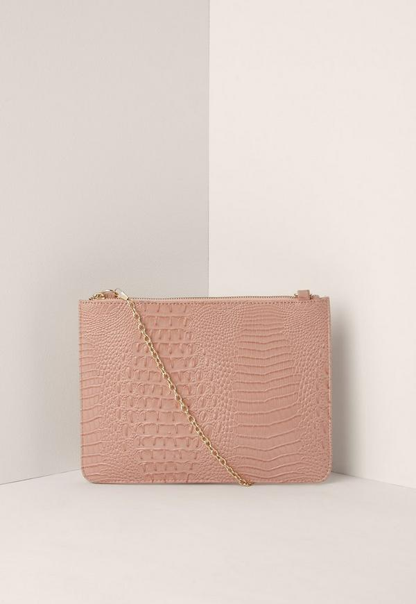 Zip Top Croc Clutch Bag Pink