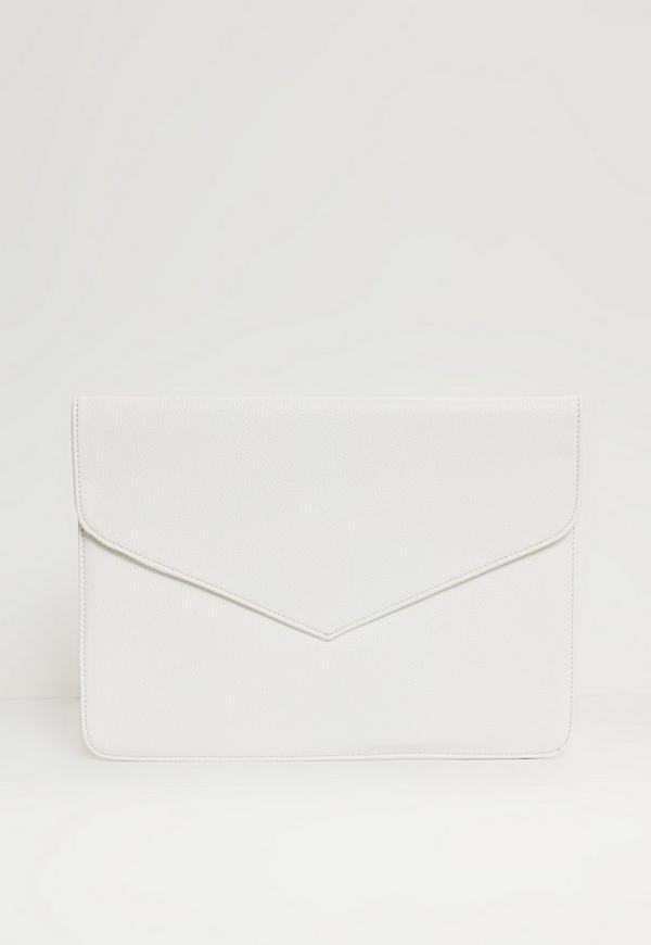 Oversized Envelope Clutch Bag White