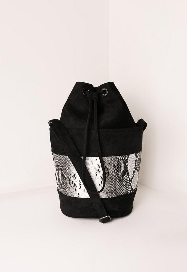 Contrast Snake Print Duffel Bag Black