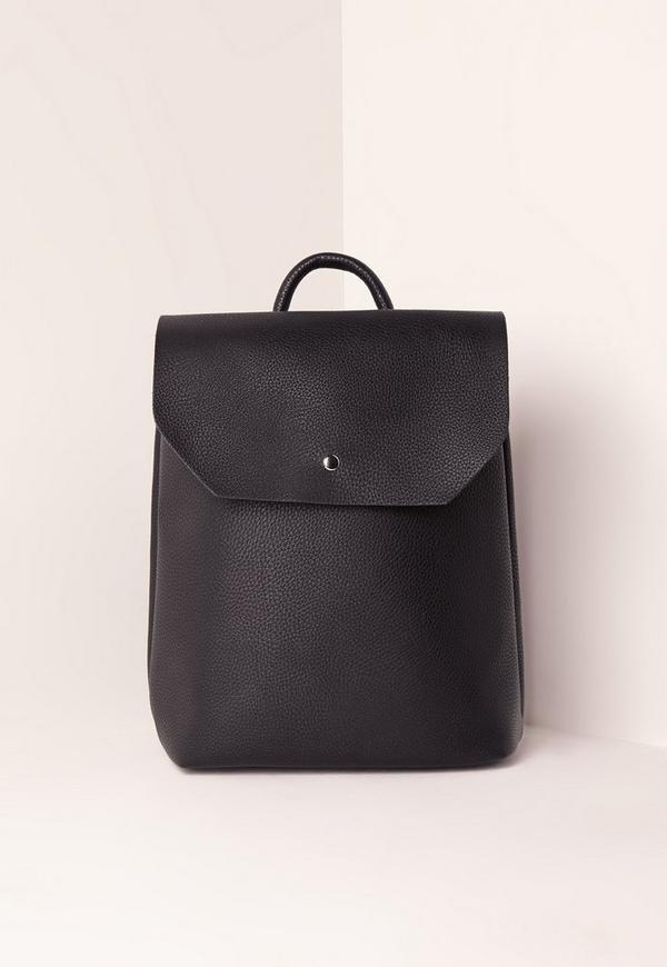 Minimal Eyelet Detail Backpack Black
