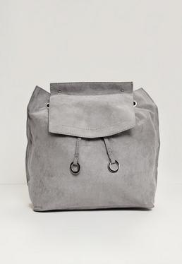 Grey Faux Suede Croc Circle Trim Back Pack