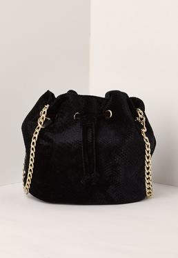 Chain Strap Velvet Cross Body Bag Black