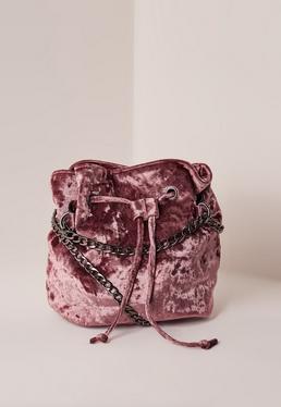 Pink Velvet Cross Body Bag