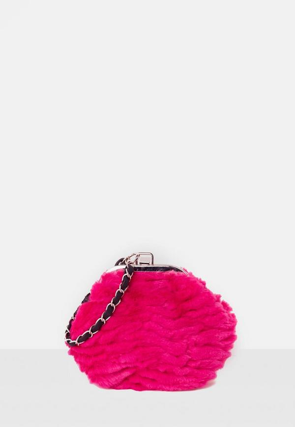 Pink Faux Fur Chain Strap Clutch Bag