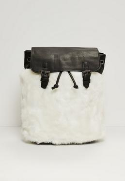 Faux Fur Backpack White