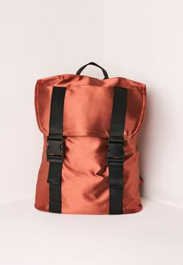Satin Buckle Detail Backpack Bronze