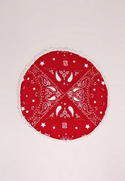 Bandana Print Towel Red