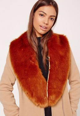 Faux Fur Stole Scarf Tan