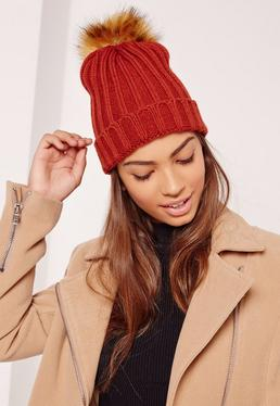 Orange Contrast Faux Fur Pom Pom Beanie