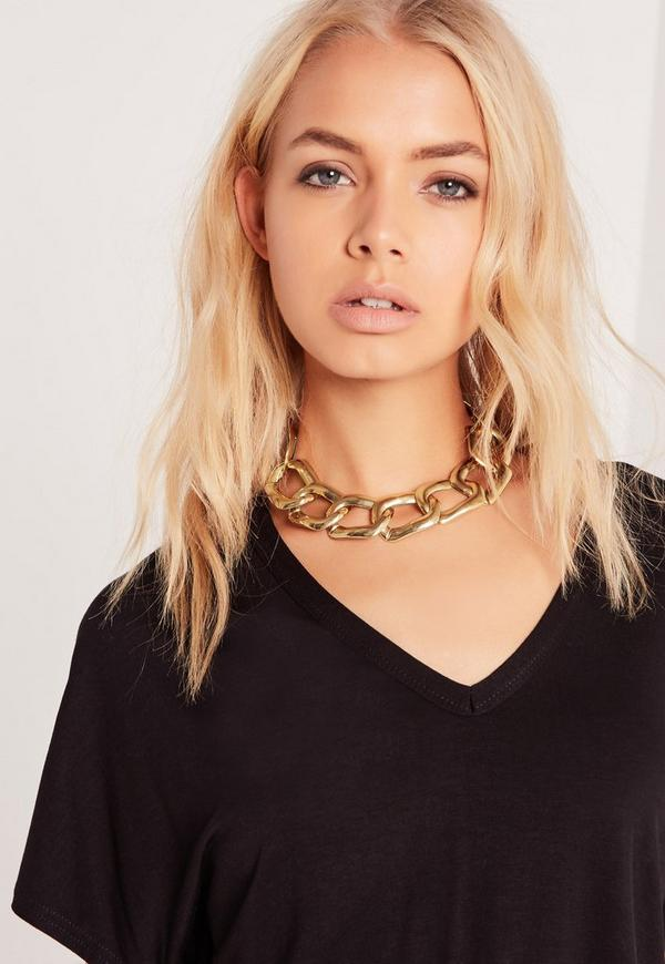 Chunky Chain Choker Necklace Gold