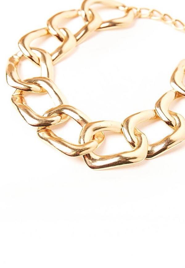 chunky chain choker necklace gold missguided