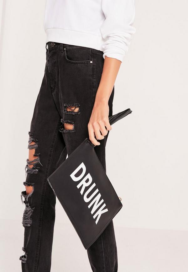 Drunk Sober Clutch Bag Black