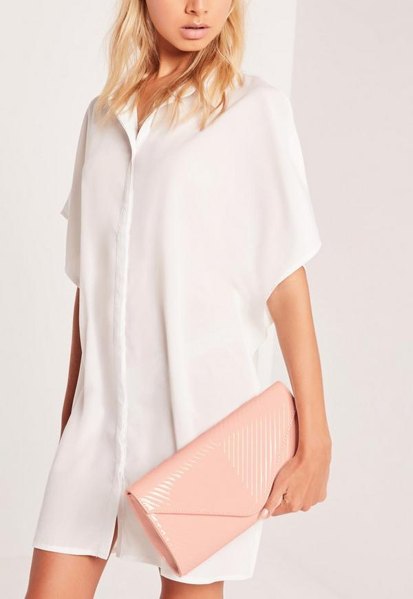 Chevron Quilted Clutch Bag Blush Pink