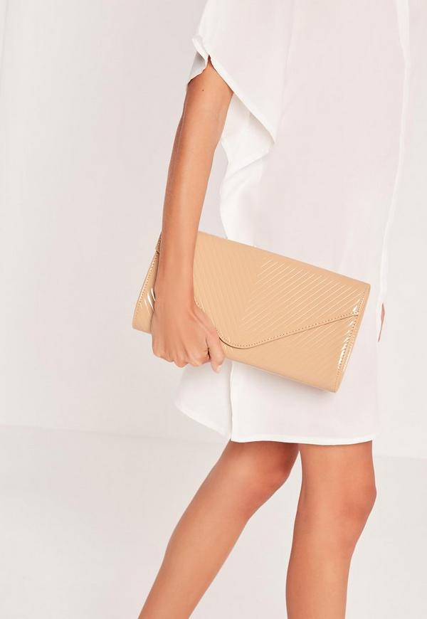 Chevron Quilted Clutch Bag Nude
