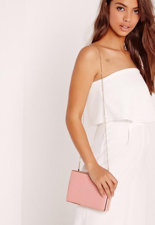 Faux Croc Box Clutch Bag Blush Pink
