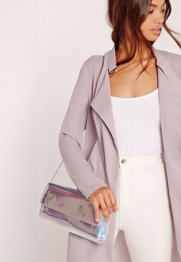Sleek Clutch Bag Holographic Silver