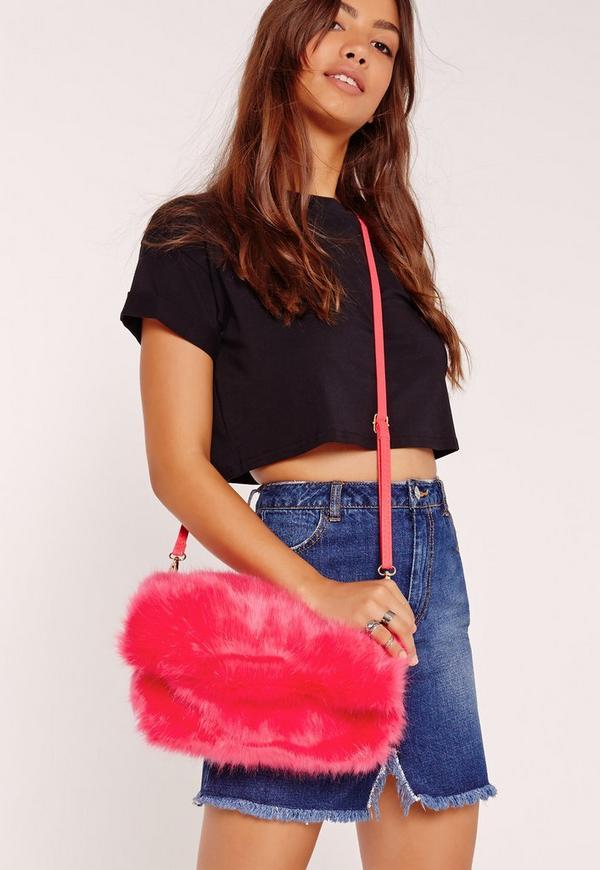 Faux Fur Cuddle Clutch Fuschia Pink