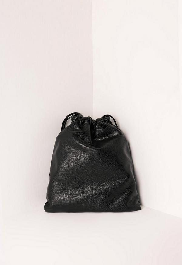 Faux Leather Classic Drawstring Backpack Black