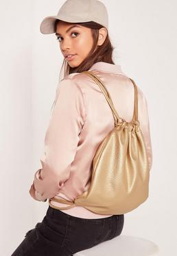 Faux Leather Metallic Drawstring Backpack Gold