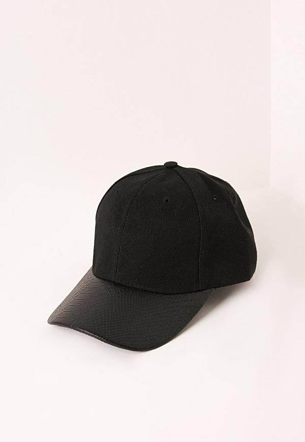 Faux Leather Croc Peak Cap Black