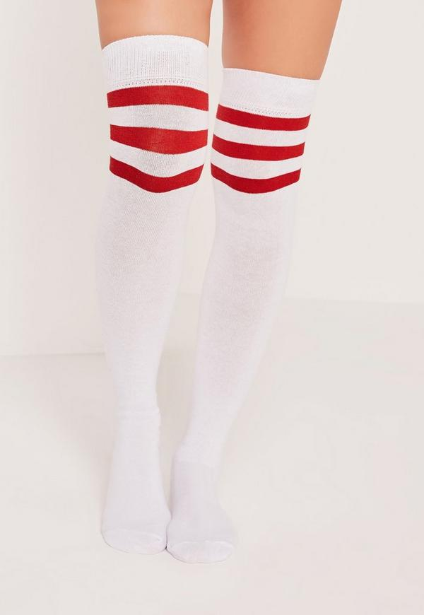 Over the Knee Sport Sock Red