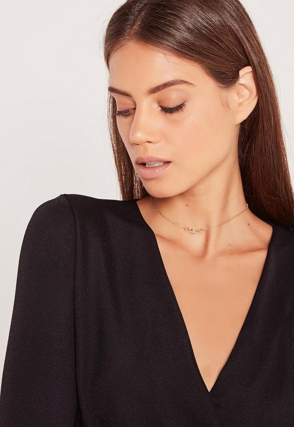 Diamante Charm Metal Chain Choker Necklace Gold