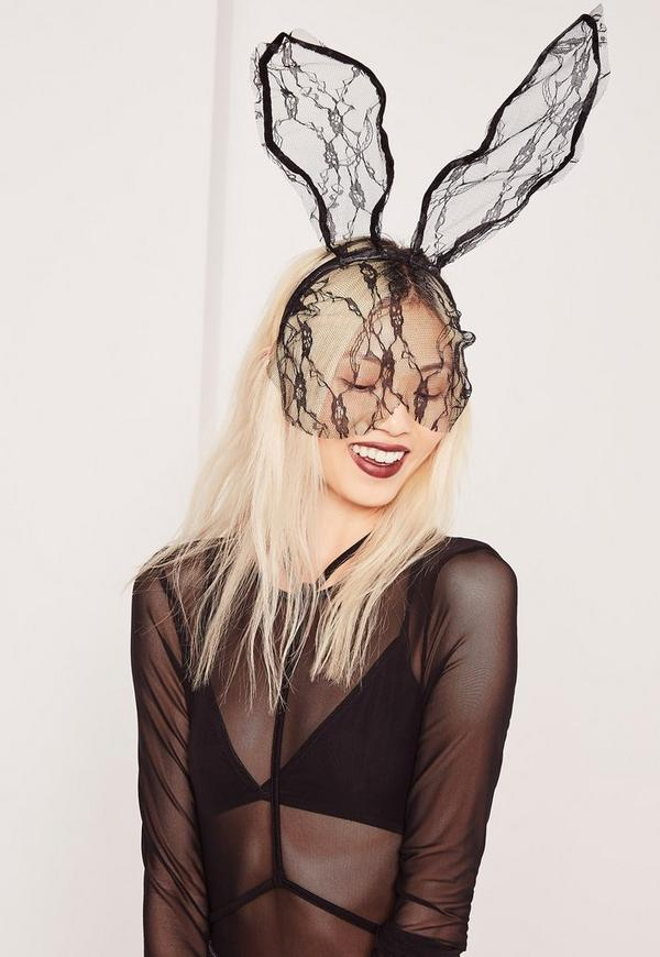 Lace Bunny Ear Headband Black