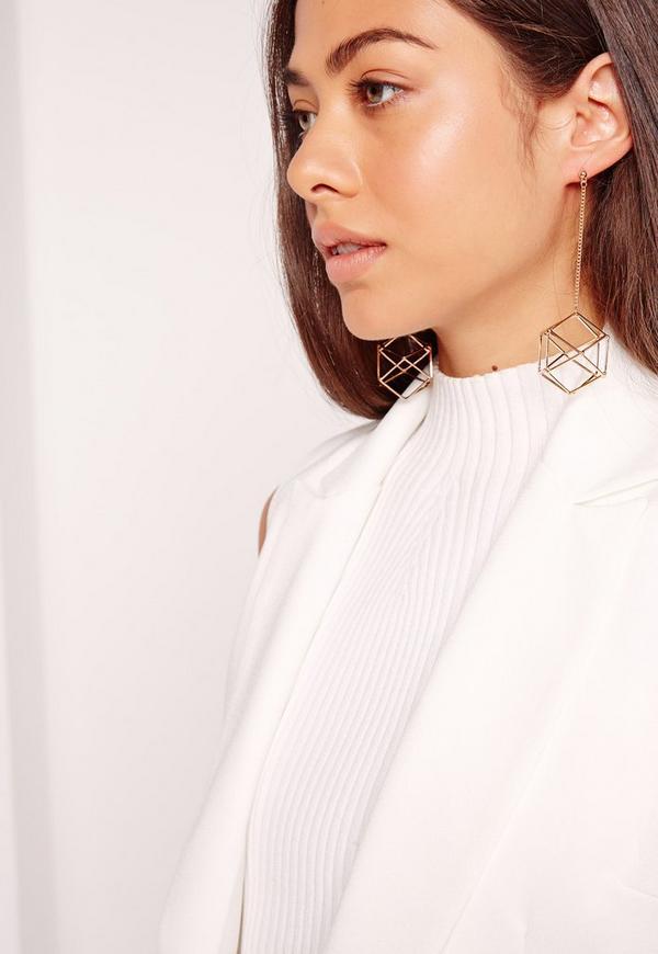 Geometric Drop Earrings Gold